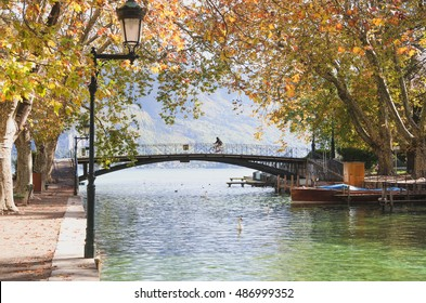 view of the bridge of love in the French city of Annecy