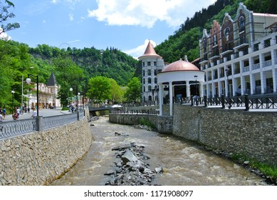 View from the bridge on main street of Borjomi resort town in central Georgia. Known for its mineral waters, with springs in Central Park.