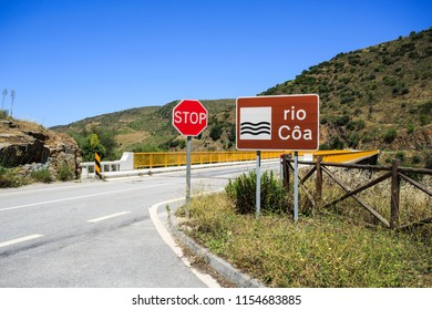 View of the bridge over the Coa River belonging the the Douro catchment in Portugal