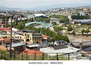 View of The Bridge of Peace in Tbilisi, Georgia.