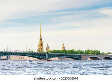 View of the bridge and the Peter and Paul Fortress in St. Petersburg from the Neva River