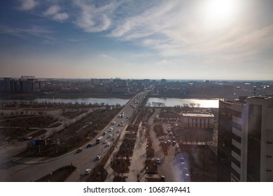 View of Bridge separating Europe and Asia in Atyrau, Kazakhstan