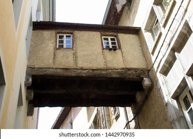 View of bridge of sighs on a sunny day.Closeup.Chambery.France.