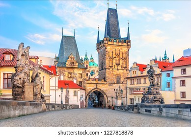 A view of the bridge tower at the end of the Charles Bridge on the side of Mala Strana, Prague