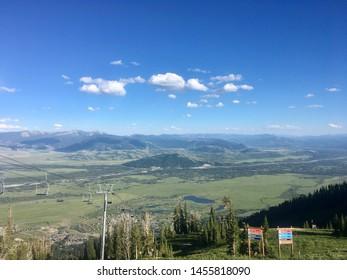 View of Bridger Gondola at Teton Village ski area in Jackson Wyoming