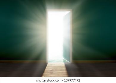 View of bright, blinding sun, seen through an open door.