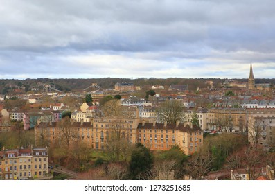 View of Bristol city in South West England,the 8th largest in the United Kingdom,with the Clifton  Suspension Bridge in the background.