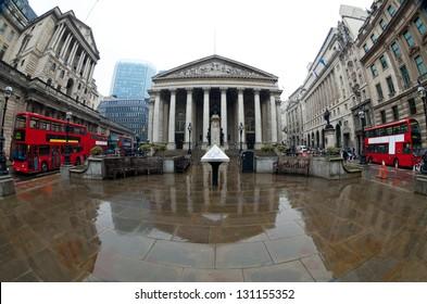 View of British financial heart, Bank of England and Royal Exchange. Shot made fisheye lens