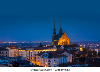 A view of Brno Cathedral and skyline at night, Brno, Czech Republic, Europe - February 22nd 2018