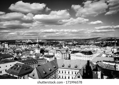 View of Brno, Czech Republic, black&white