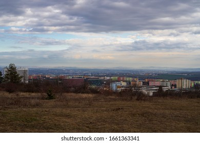 View of Brno from Kamenny vrch. In the background you can see Palava, blue sky with clouds. - Shutterstock ID 1661363341