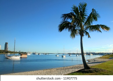 View of the Broadwater from Main Beach on the Gold Coast Australia in the early morning