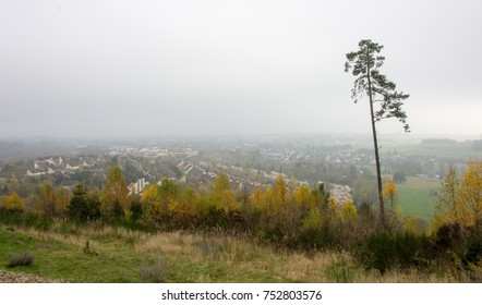 View from the Bromberg on Medebach, Hochsauerland, in the fog