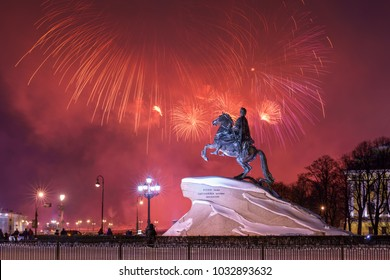 view of the Bronze Horseman (the monument to Peter the Great) background of a festive firework, Saint-Petersburg, Russia