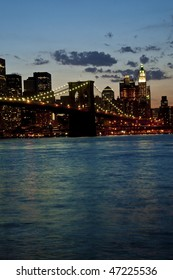 View of the Brooklyn Bridge in late evening.