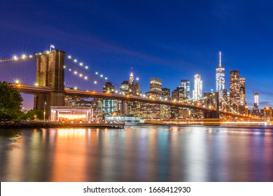 View of Brooklyn Bridge and Lower Manhattan at blue hour from Brooklyn   New York City, NY, USA