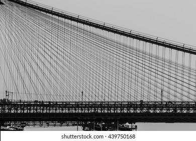 A view of Brooklyn bridge with Manhattan bridge in the background