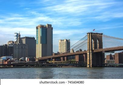 View of Brooklyn bridge in New York city. New York lanscape USA