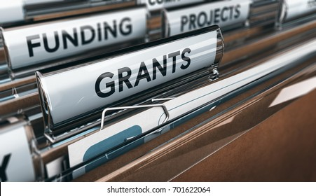 View of brown folders, with focus on grants label, Concept of funding, 3D illustration