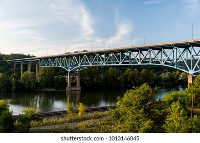 A view of the Brownsville High Level Bridge over the Monongahela River in western Pennsylvania. It carries US 40, the National Road.