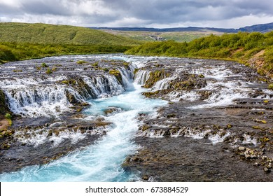 View of Bruarfoss waterfall in Iceland