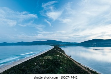 View of Bruny Island beach in Tasmania, Australia in the afternoon.
