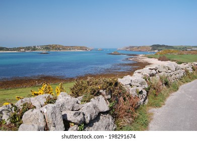 view of bryher island from tresco, isles of scilly