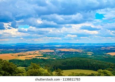 View of Buchlov Castle over The White Carpathians, Czech Republic.