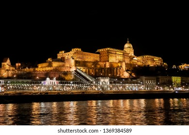 View of the Buda Castle Royal Palace from the Danube river  in Budapest, Hungary, Europe