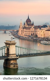 View of Budapest Parliament with the Chain Bridge, Hungary