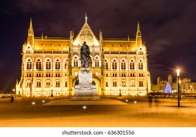 View of Budapest parliament at night, Hungary