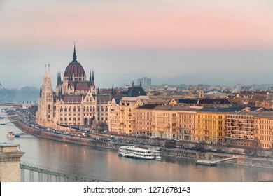 View of Budapest parliament at sunset during winter time, Hungary