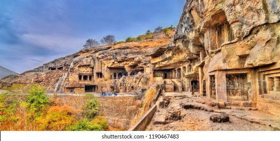 View of Buddhist monuments at Ellora Caves. A UNESCO world heritage site in Maharashtra, India.