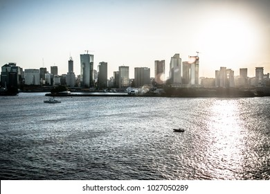 View of Buenos Aires from the Mar Del Plata bay at sunset