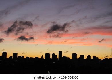 View of the Buenos Aires skyline at sunset, Argentina