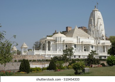 View of building Birla Mandir temple in the city of Jaipur, Rajasthan region in India