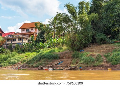 View of the building by the Nam Khan river, Louangphabang, Laos. Copy space for text