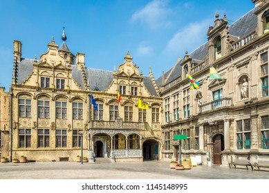 View at the building of City hall and Courthouse in Veurne, Belgium