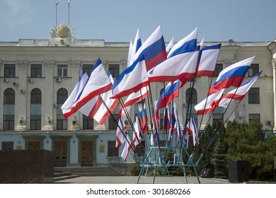View of the building of the Council of Ministers of Crimea on Lenin Square in the center of Simferopol city , Republic of Crimea