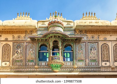 View at the building facade Inside City Palace in Udaipur, Rajasthan, India.