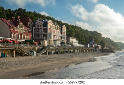 View of the building of hotels and a promenade in Svetlogorsk the Kaliningrad region by the Baltic sea.