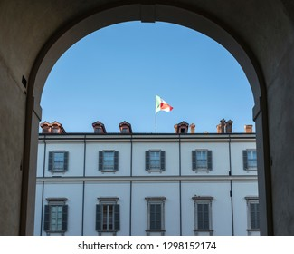 a view of a building with Italian flag