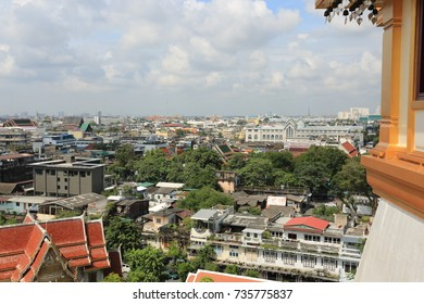 View of the building from the metal of Wat Ratchanadda, Bangkok, Thailand.
