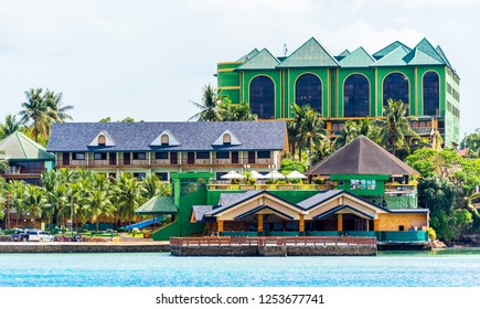 View of the building and pier, Bohol island of Philippines. Copy space for text.