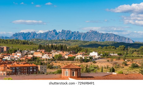 View of the building in the valley of the mountains of Montserrat, Barcelona, Catalonia, Spain. Copy space for text