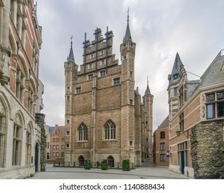 View at the building of Vleeshuis museum in Antwerp, Belgium
