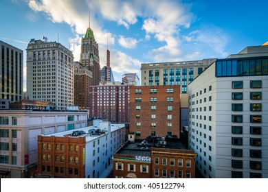 View of buildings along Lombard Street, in downtown Baltimore, Maryland.