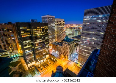 View of buildings in downtown at night, in Baltimore, Maryland.