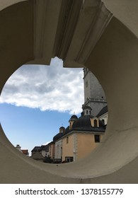 View of the buildings of the monastery in Częstochowa through the shooting hole in the defensive wall of the fortified monastery. Częstochowa, Świętokrzyskie, Poland