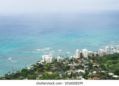 view buildings and ocean from Diamond Head Crater Summit Hawaii, US